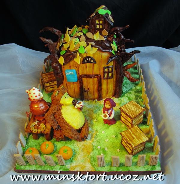 Торт Маша и медведь Вес - 3300 кг Состав - апельсиновый бисквит.