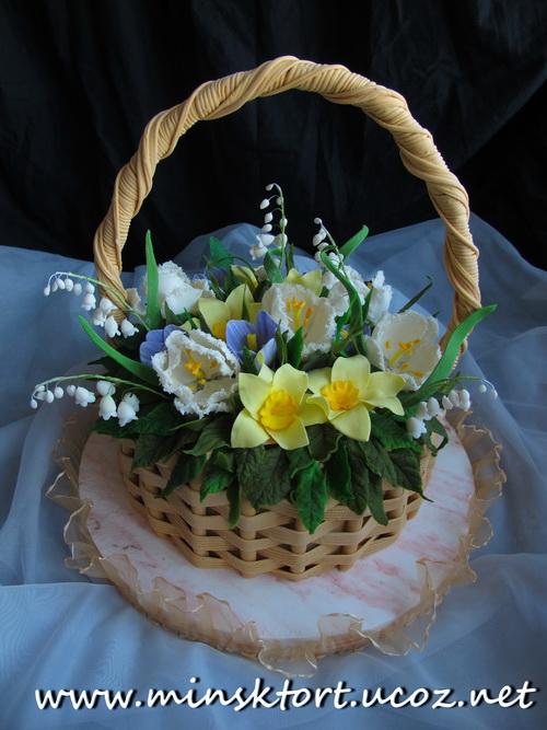 Фото торты корзина с цветами