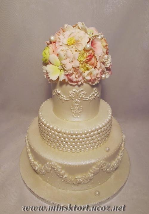 Торт на жемчужную свадьбу. Категория: Свадебные и праздничные торты | Просмотров: 1125 | Добавил: minsktort
